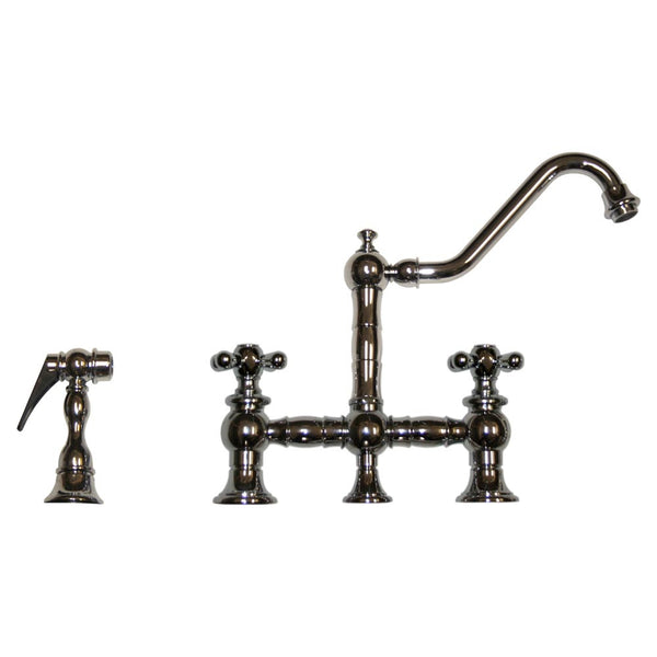 Whitehaus Curved Cross Brass Kitchen Faucet with Side Spray - Polished Chrome WHKBTCR3-9201-C