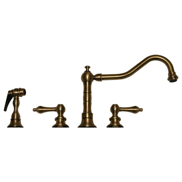 Whitehaus Widespread Lever Handles Kitchen Faucet & Spray - Antique Brass WHKLV3-4400-AB