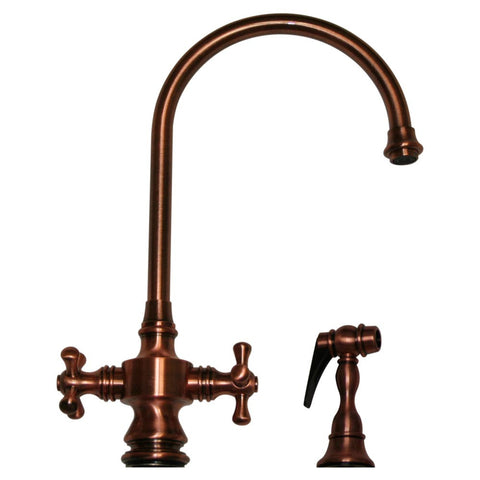 Whitehaus Goose Neck Cross Handle Kitchen Faucet & Side Spray - WHKSDCR3-8101