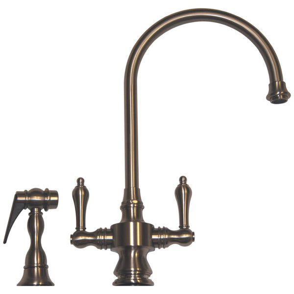 Whitehaus Goose Neck Lever Handle Kitchen Faucet & Side Spray - WHKSDLV3-8101