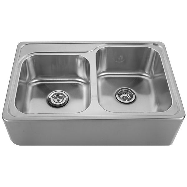 Whitehaus Stainless Steel 33'' Double Bowl Apron Kitchen Sink WHNAP3322