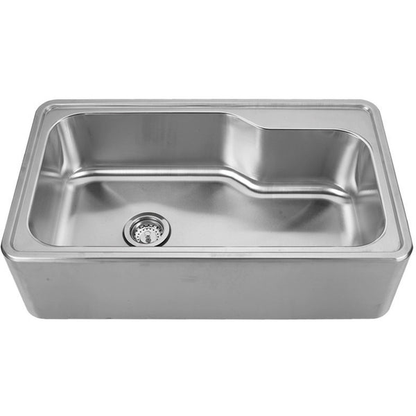 "Whitehaus Steel 34"" Single Bowl Drop-in Apron Kitchen Sink WHNAPB3016"