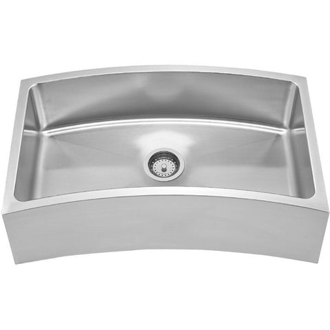 Whitehaus Stainless Steel 32'' Single Curve Apron Kitchen Sink WHNAPCV3218