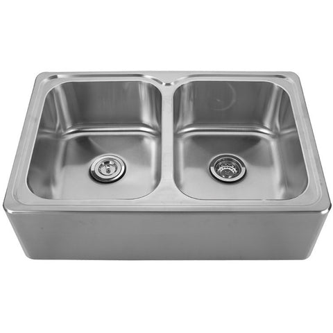 Whitehaus Steel 33'' Double Front Apron Drop-In Kitchen Sink WHNAPEQ3322
