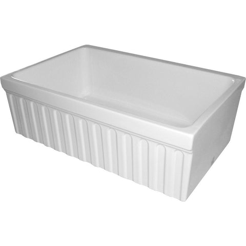 Whitehaus Fireclay 30'' Single Bowl Fluted Farmhouse Reversible Sink - White WHQ330
