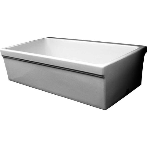 Whitehaus Single Bowl Fireclay 30'' Farmhouse Apron Kitchen Sink - White WHQ530