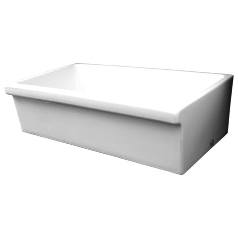 Whitehaus Single Bowl Fireclay 36'' Farmhouse Apron Kitchen Sink - White WHQ536