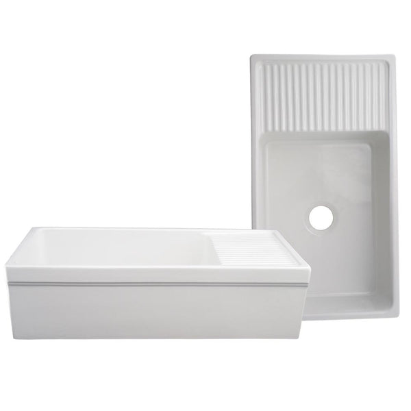 "36"" Fireclay Farmhouse Sink, Single Bowl, Whitehaus, WHQD540 - Showroom Sinks"