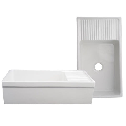 "Whitehaus Fireclay 36"" Single Bowl Farmhouse Apron Kitchen Sink - White WHQD540"