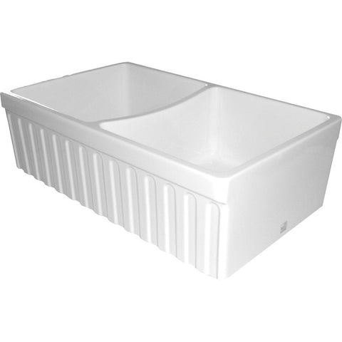 Whitehaus Double Bowl Fireclay 33'' Fluted Farmhouse Apron Sink - White WHQDB332