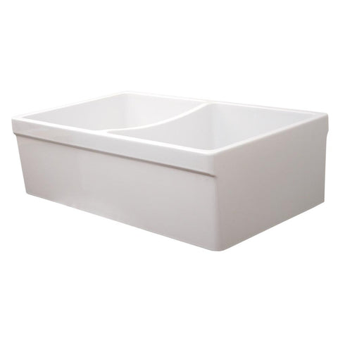 Whitehaus Double Bowl Fireclay 33'' Farmhouse Apron Kitchen Sink - White WHQDB532