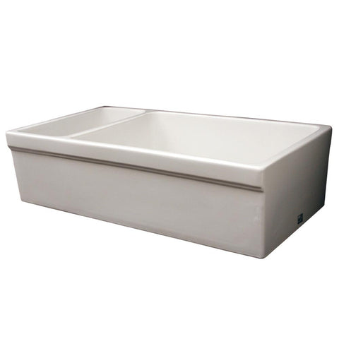 Whitehaus Double Bowl Fireclay 36'' Farmhouse Apron Kitchen Sink - White WHQDB542