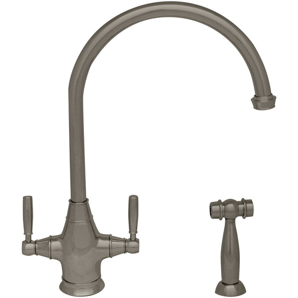 Whitehaus Double Lever Handle Kitchen Faucet with Gooseneck Spout - Brushed Nickel WHQN-34650-BN