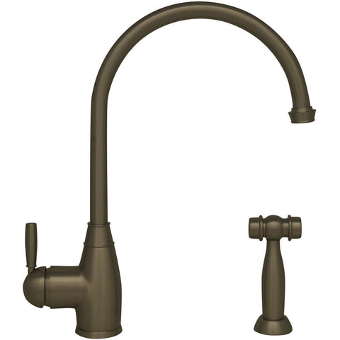 Whitehaus Gooseneck Kitchen Faucet with Solid Brass Side Spray - Brushed Nickel WHQN-34682-BN