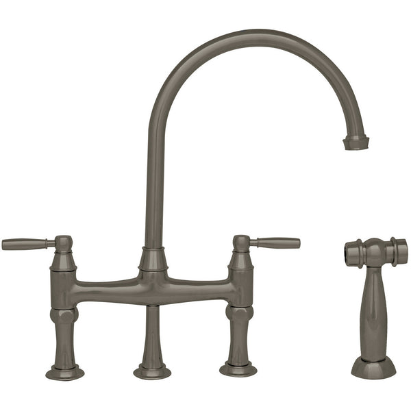 Whitehaus Bridge Faucet with a Long Gooseneck Spout and Side Spray - Brushed Nickel WHQNB-34663-BN