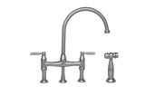 Whitehaus Bridge Faucet with a Long Gooseneck Spout and Side Spray - WHQNB-34663