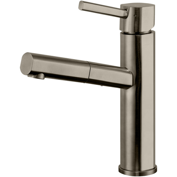 Whitehaus Waterhaus Lead Free Solid Stainless Steel Kitchen Faucet With Pullout Spray - Brushed Stainless Steel WHS1394-PSK-BSS