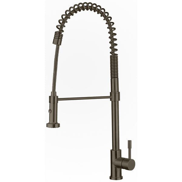 Whitehaus Waterhaus Commercial Single-Hole Faucet with Flexible Pull-Down Spray Head - Brushed Stainless Steel WHS1634-SK-BSS