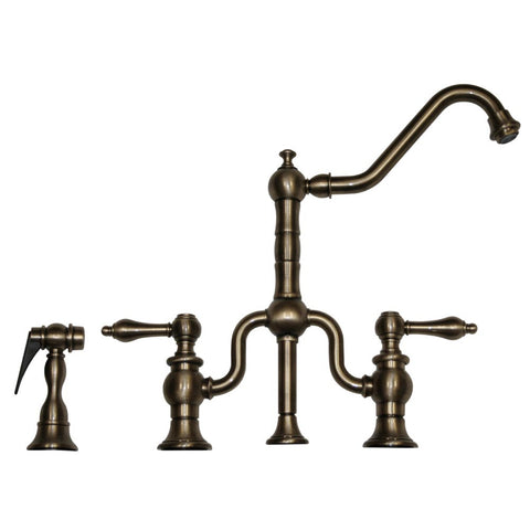 Whitehaus Curved Traditional Kitchen Faucet & Side Spray - Pewter WHTTSLV3-9771SPR-P