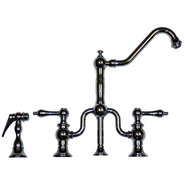Whitehaus Curved Traditional Kitchen Faucet & Side Spray - Polished Chrome WHTTSLV3-9771SPR-C