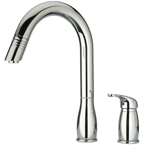 Whitehaus Modern Single Hole Pull Down Metrohaus Kitchen Faucet - Polished Chrome WHUS492-C