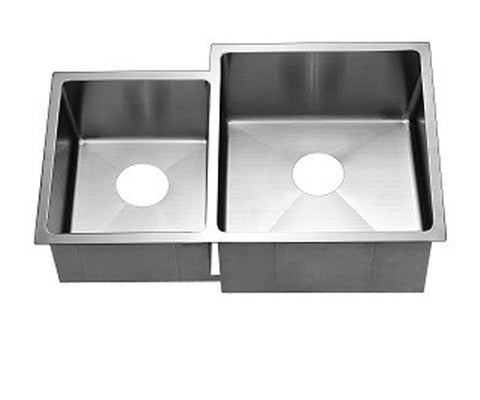 "Dawn 33"" Stainless Steel Undermount Extra Small Corner Radius Double Bowl (Small Bowl on Left), XSR311816L"