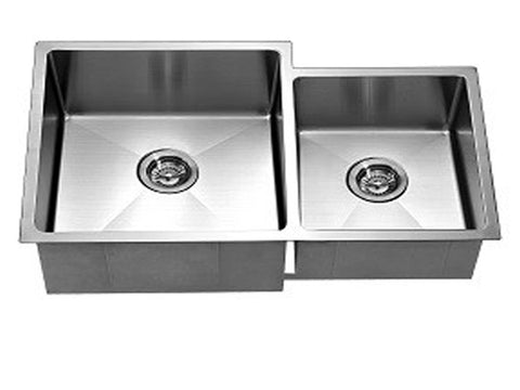"Dawn 33"" Stainless Steel Undermount Extra Small Corner Radius Double Bowl (Small Bowl on Right), XSR311816R"