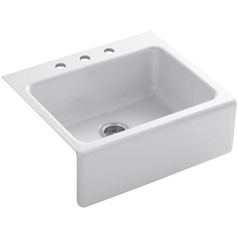 "Kohler Alcott 25"" tile-in single-bowl kitchen sink with apron-front and 3 faucet holes White K-6573-3-0"