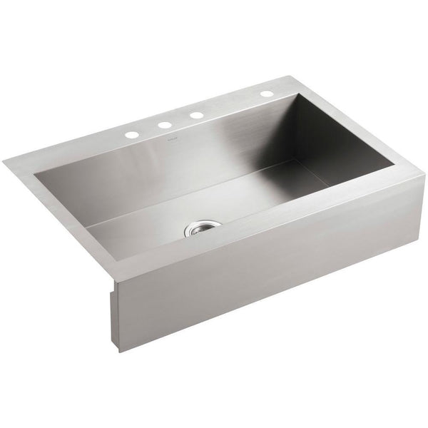 "Kohler Vault 36"" Top-Mount Single-Bowl Stainless Steel Kitchen Sink With Tall Apron K-3942-4-NA"