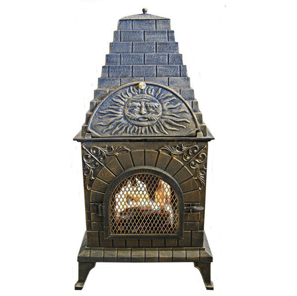 Aztec Allure Cast Iron Wood-Fired Chiminea Pizza Oven - Real Pizza Ovens