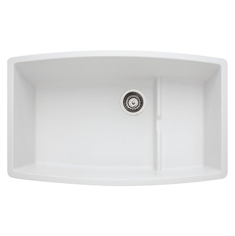 "Blanco Performa, 32"" Granite Composite Undermount Kitchen Sink, Single Bowl, Silgranit PuraDur - Showroom Sinks"