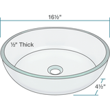 "Polaris 16 1/2"" Glass Round Bathroom Vessel Sink - Clear P535"