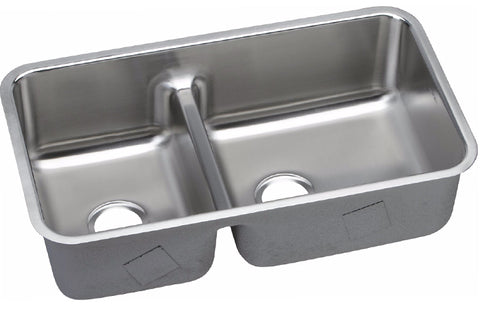 "Elkay Lustertone Stainless Steel 32-1/16"" Double Bowl Undermount Sink with Aqua Divide, ELUHAQD32179"