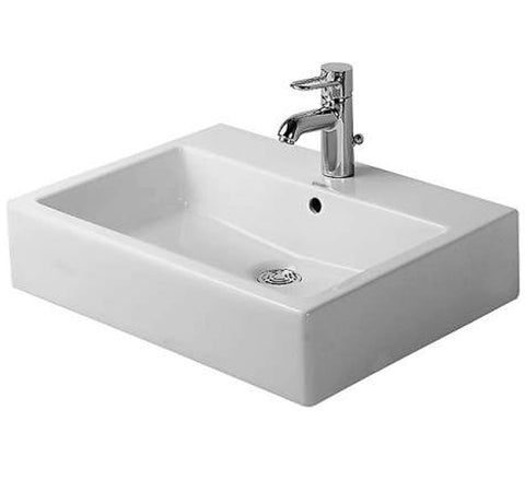 "Vero Washbasin ground 23-5/8"" with Overflow and faucet deck, Wall-mounted Bathroom Vessel Sink, Duravit, 045460"
