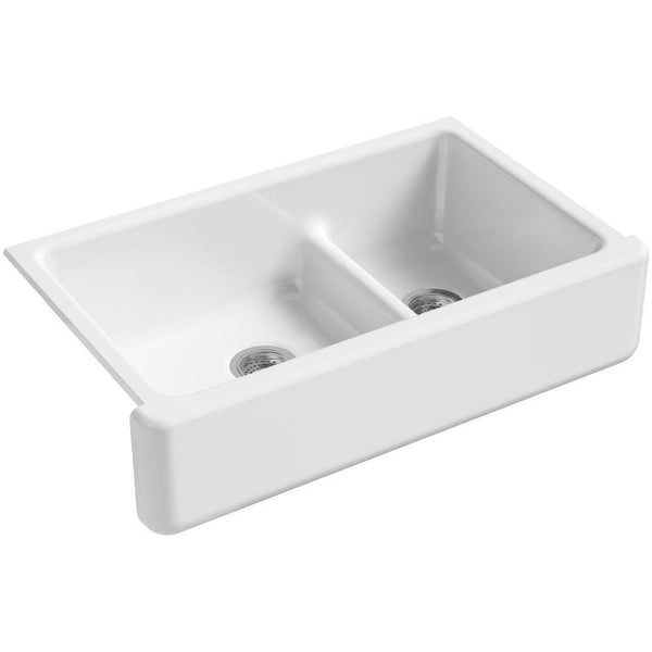 "Kohler Whitehaven Self-Trimming Smart Divide 36"" under-mount double-bowl kitchen sink with tall apron - White K-6427-0"