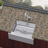 "Elkay 25"" Lustertone Stainless Steel Single Bowl Farmhouse Kitchen Sink - ELUHF2520"