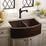 "Elkay 33"" Hammered Copper Double Bowl Farmhouse Kitchen Sink - ECUF3319ACH"