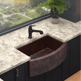 "Elkay 33"" Hammered Copper Single Bowl Farmhouse Kitchen Sink - ECUFS2915ACH"