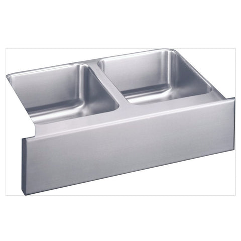 "Elkay 33"" Lustertone Stainless Steel Double Bowl Farmhouse Kitchen Sink - ELUHF3320"