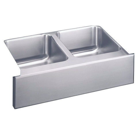 "Elkay 33"" Lustertone Stainless Steel Double Bowl Farmhouse Kitchen Sink - ELUHF332010"