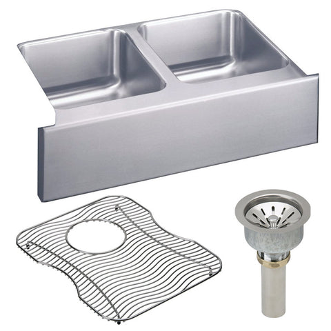 "Elkay 33"" Lustertone Stainless Steel Double Bowl Farmhouse Kitchen Sink Kit - ELUHF332010DBG"