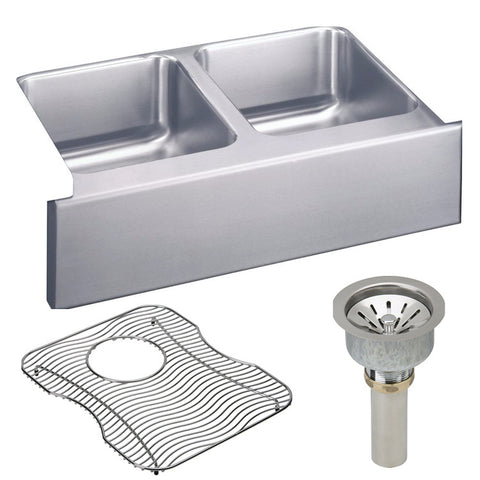 "Elkay 33"" Lustertone Stainless Steel Double Bowl Farmhouse Kitchen Sink Kit - ELUHF3320DBG"