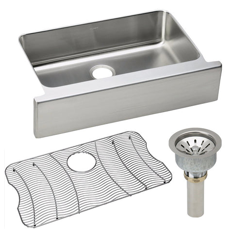 "Elkay 33"" Lustertone Stainless Steel Single Bowl Farmhouse Kitchen Sink Kit - ELUHFS2816DBG"