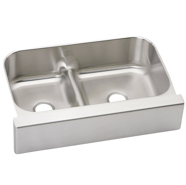 "Elkay 34-5/8"" Lustertone Stainless Steel Aqua Divide Double Bowl Farmhouse Kitchen Sink - EAQDUHF3523L"