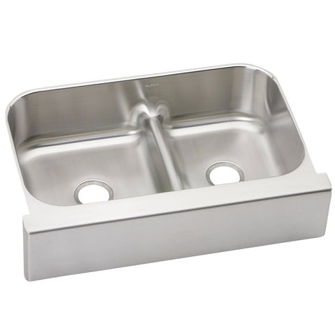 "Elkay 34-5/8"" Lustertone Stainless Steel Aqua Divide Double Bowl Farmhouse Kitchen Sink - EAQDUHF3523R"