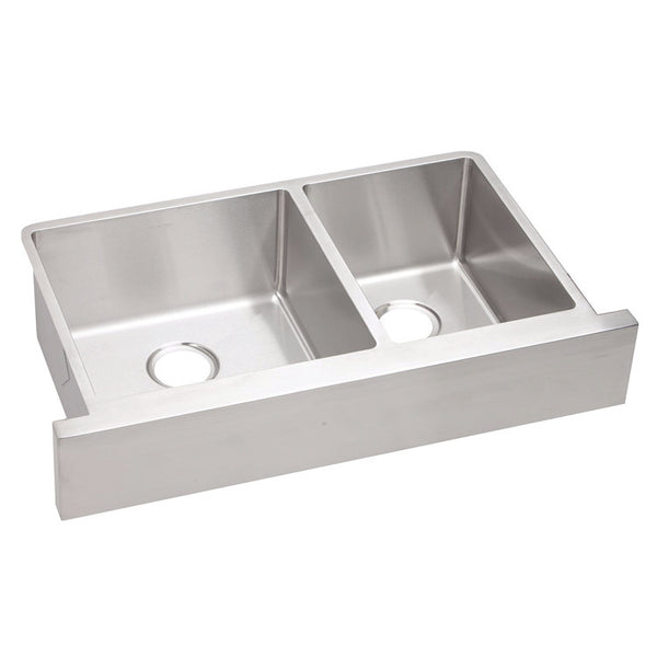 "Elkay 35-7/8"" Crosstown Stainless Steel Double Bowl Farmhouse Kitchen Sink - ECTRUF32179R"