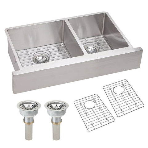 "Stainless Farmhouse Sink, 35-7/8"", Elkay Crosstown, 60/40 Double Bowl Sink Kit, ECTRUF32179RDBG"
