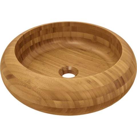 "Polaris 16"" Bamboo Round Bathroom Vessel Sink P398"