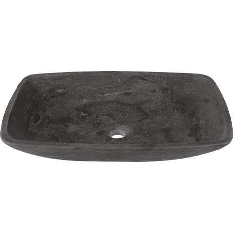 "Polaris 22 3/4"" Limestone Rectangular Bathroom Vessel Sink - Dark Grey P868"