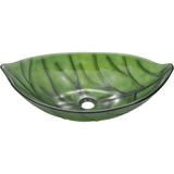 "Polaris 23"" Glass Leaf Shaped Bathroom Vessel Sink - Green P906"